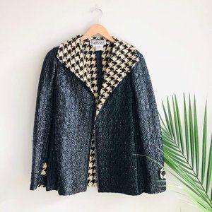 Carlisle Crinkle Houndstooth Jacket Coat Black 8